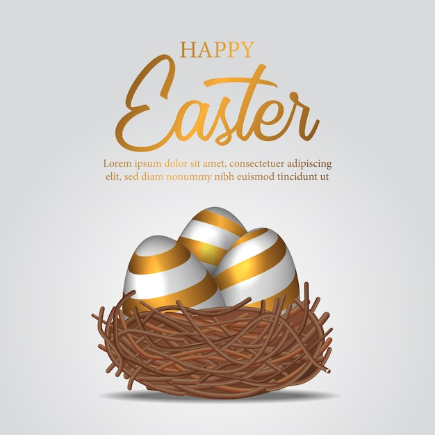 3d realistic decorative egg with gold color on the bird nest Premium Vector
