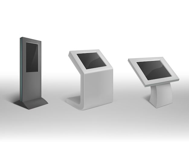 3d realistic digital information kiosks. interactive digital signage, stand Free Vector