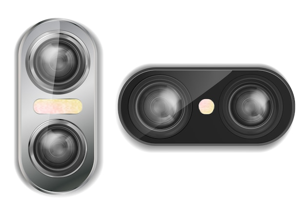 3d realistic dual camera for smartphone with two lenses and flash, isolated on background. Free Vector