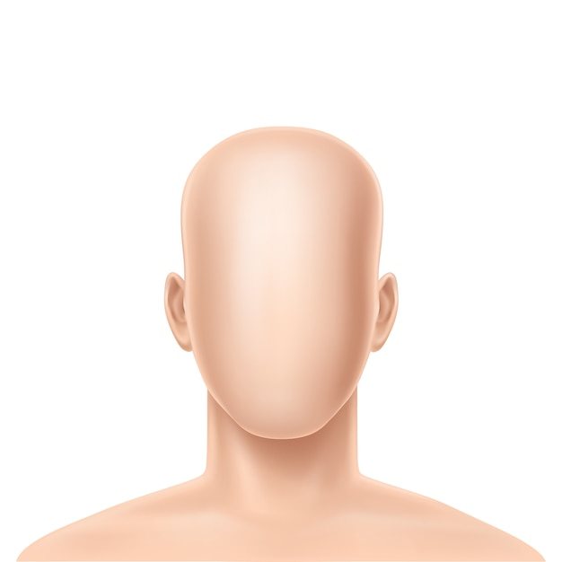 3d realistic faceless human model Free Vector