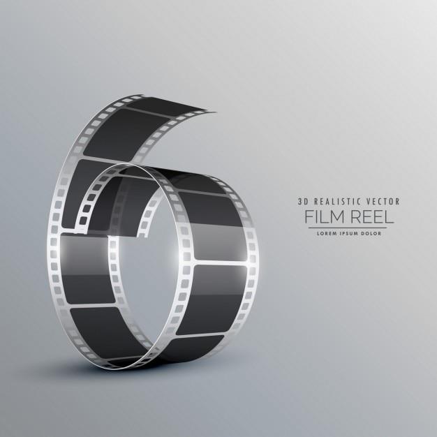 3dフィルムリールの背景 無料ベクター