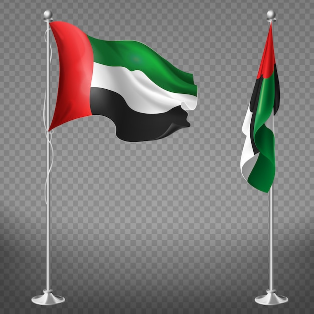 3d realistic flags of united arab emirates on steel poles isolated on transparent background Free Vector