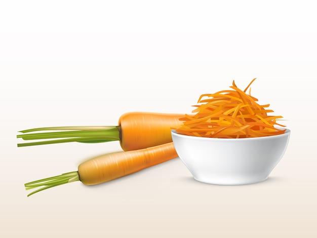 3d現実的な新鮮なニンジンと白い陶器のボウルに入れられたオレンジ色の野菜。 無料ベクター