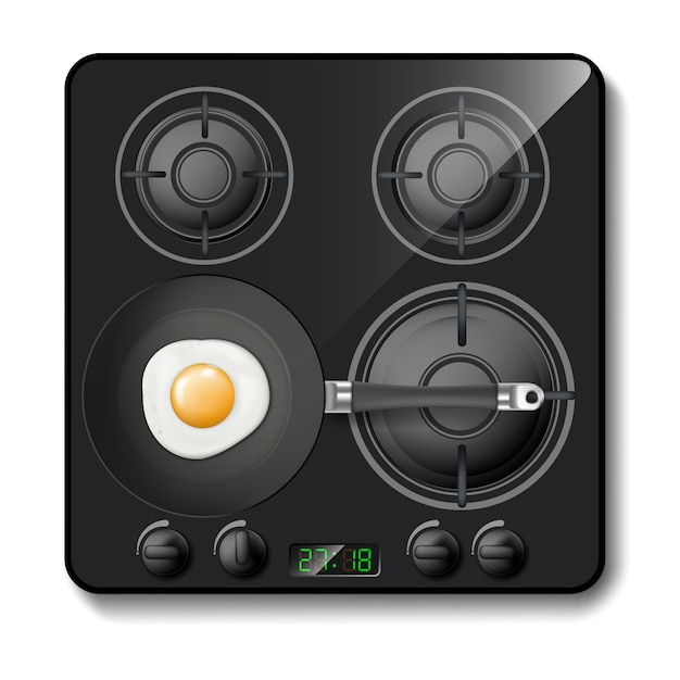 3d realistic gas stove, black cooktop, hob with four circle burners Free Vector