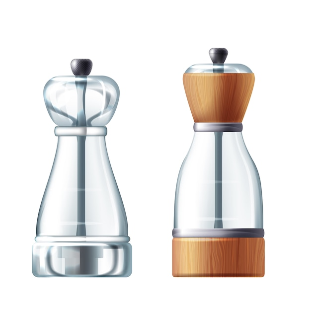 3d realistic glass, wooden salt and peppermill. transparent shaker for cooking Free Vector