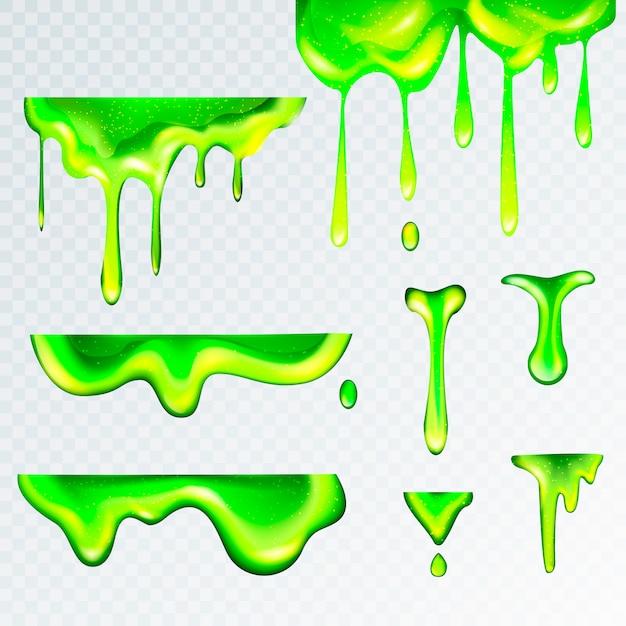 3d realistic green goo slime Premium Vector