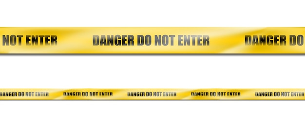 3dリアルハザードイエローストライプリボン、犯罪現場または建設エリアの警告サインの注意テープ。 無料ベクター