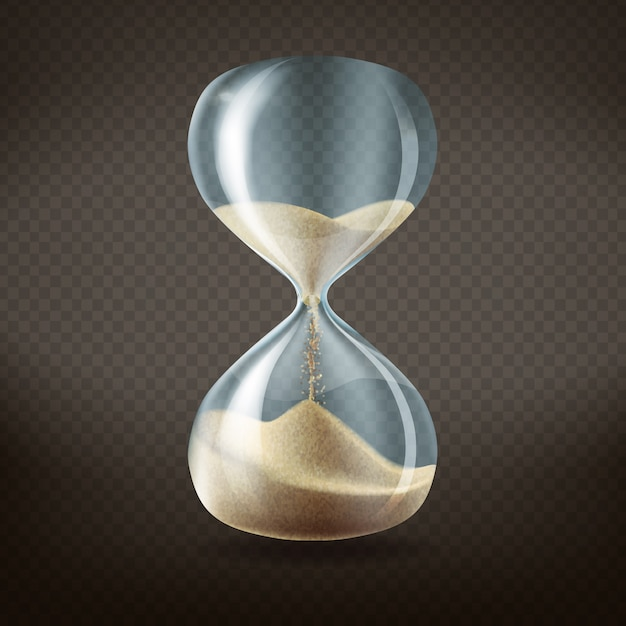 3d реалистичные песочные часы с бегом песка внутри, изолированных на темном прозрачном фоне. Бесплатные векторы