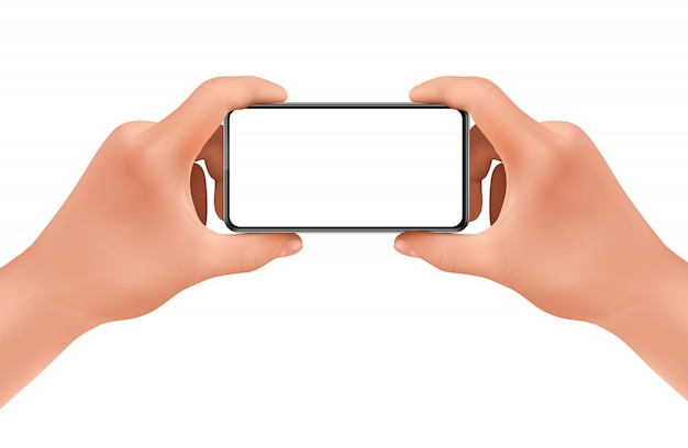 3d realistic human hands holding smartphone for taking photo. Free Vector