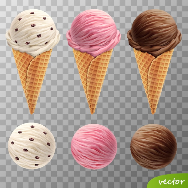 3d realistic ice cream scoops in a waffle cones (with raisins, fruit strawberry, chocolate) Premium Vector