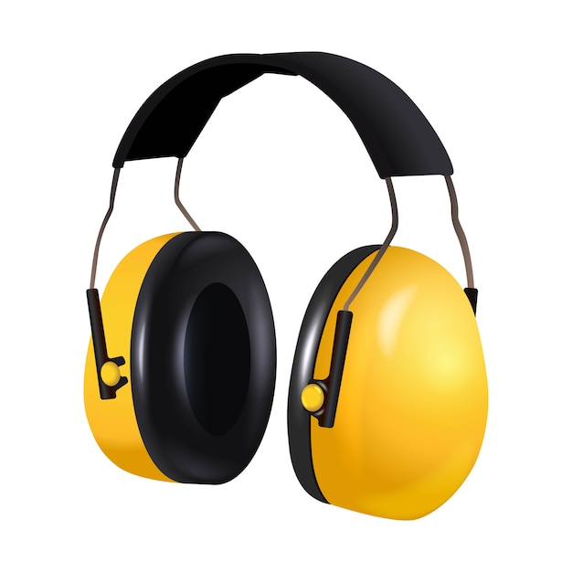 3d realistic icon illustration of safety equipment contractor worker headphones, noise protective. isolated on white Premium Vector