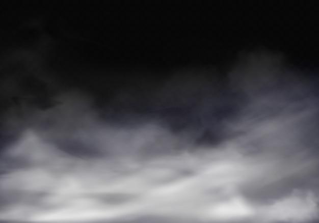 3d реалистичные иллюстрации туман, серый туман или сигаретный дым. Бесплатные векторы