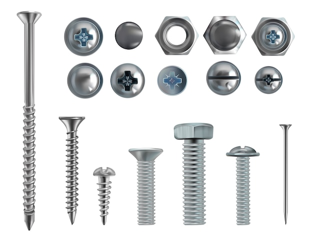 3d realistic illustration of stainless steel bolts, nails and screws on white background. Free Vector