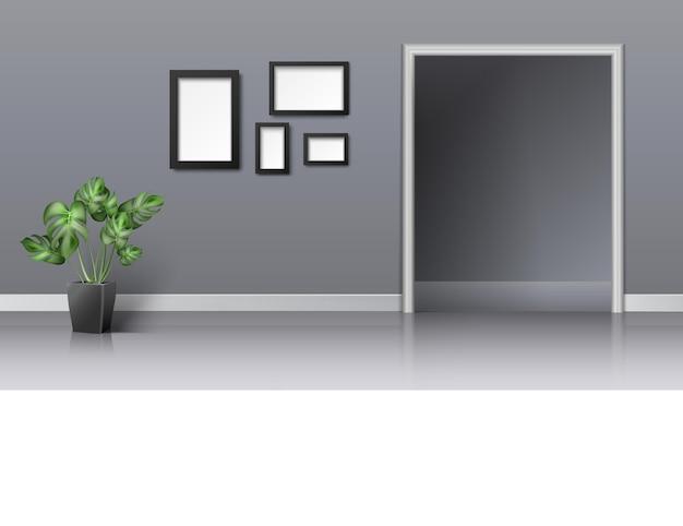 Interior design realistico 3d del soggiorno con ingresso Vettore gratuito