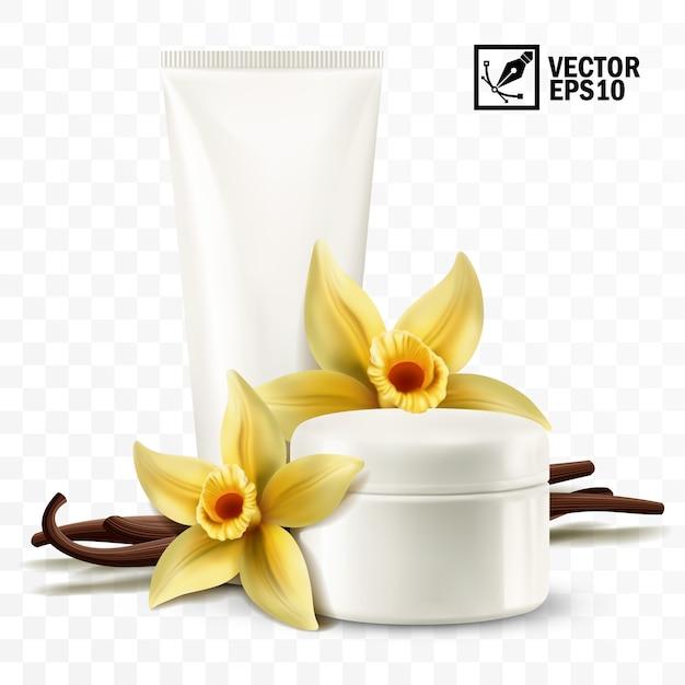 3 dの現実的な分離瓶と化粧用クリーム、黄色のバニラの花とスティックのチューブ Premiumベクター