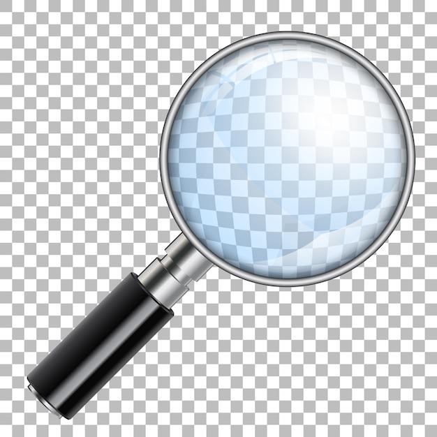 3dリアルな拡大鏡、ルーペ、透明な背景に拡大します。孤立 Premiumベクター