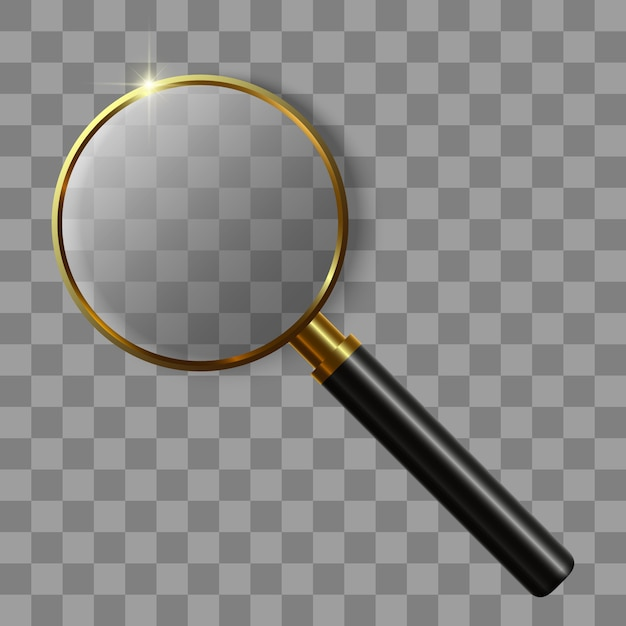 3d realistic magnifying glass Premium Vector