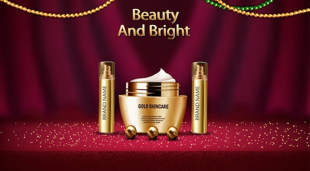 3d realistic mock up of perfume and gold skincare lotion cosmetic Free Vector