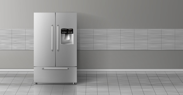 3d realistic mock up with gray two-chambered refrigerator isolated on tile wall. Free Vector