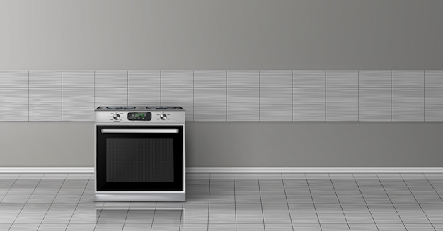 3d realistic mock up with modern silver steel stove isolated on gray tile wall. Free Vector