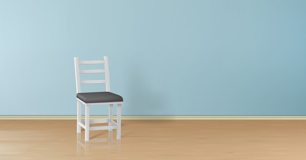 3d реалистичный макет с белым деревянным стулом, изолированные на синей стене Бесплатные векторы