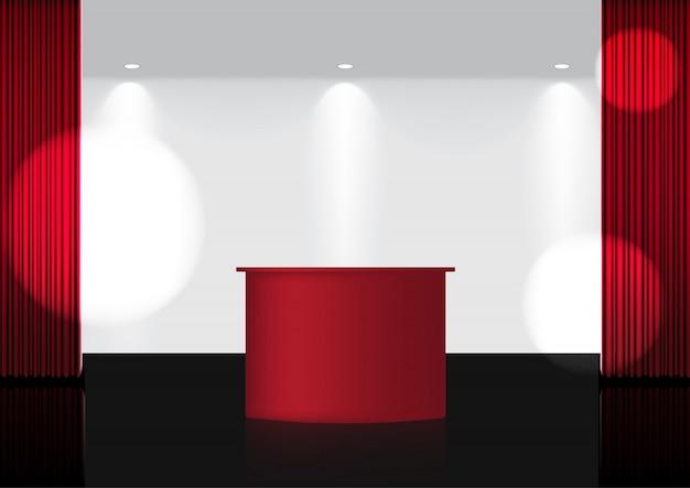 3d realistic open red curtain на сцене red award или в кинотеатре для шоу, концертов или презентаций в центре внимания Premium векторы