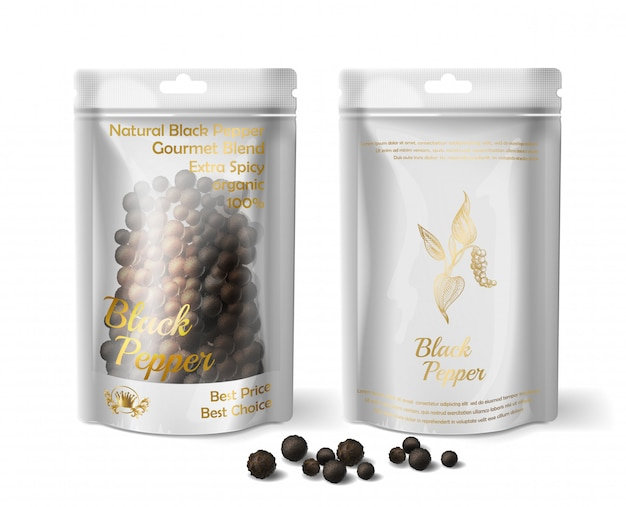 3d realistic package of black pepper isolated on white background. Free Vector