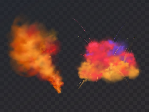 3d realistic paint powder explosion on transparent background. symbol of holi festival Free Vector