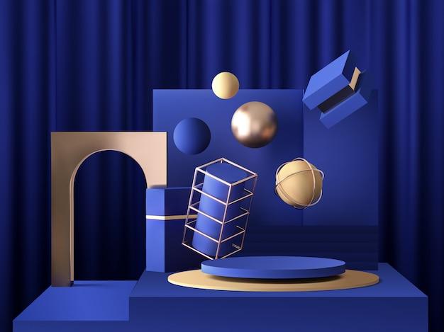 골드 요소, 구체, 반지 및 상자, 추상 최소한의 개념, 빈 공간, 깨끗 한 디자인 디스크 연단 파란색 배경에 3d 현실적인 받침대 프리미엄 벡터