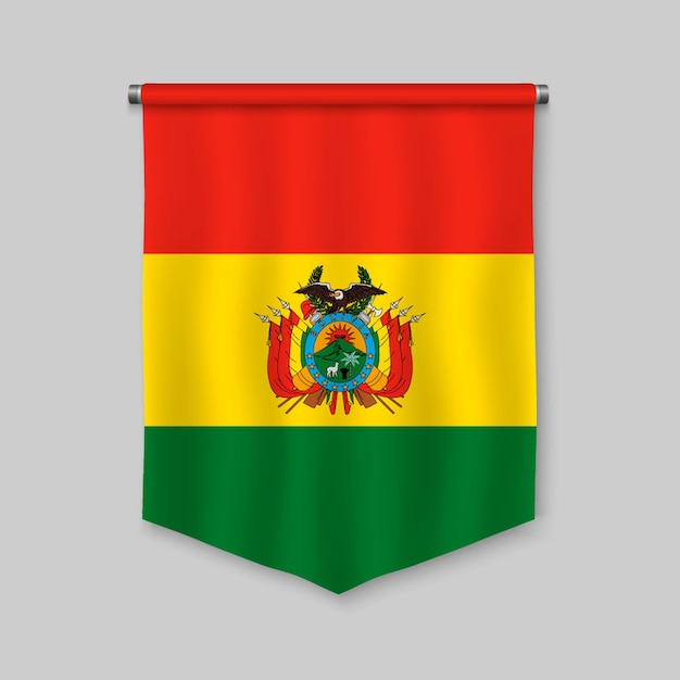 3d realistic pennant with flag of bolivia Premium Vector