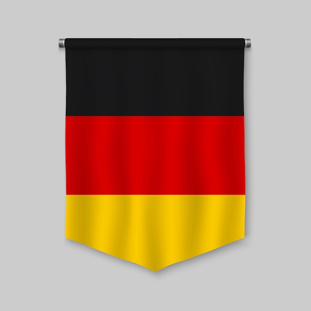 3d realistic pennant with flag of germany Premium Vector