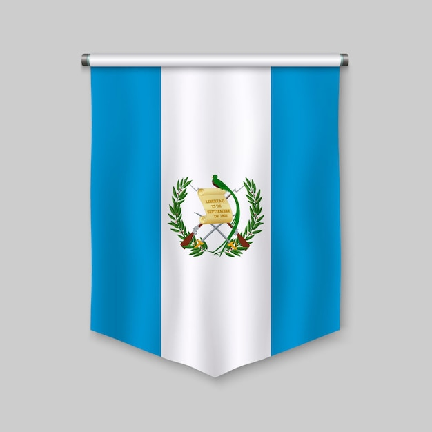 3d realistic pennant with flag of guatemala Premium Vector