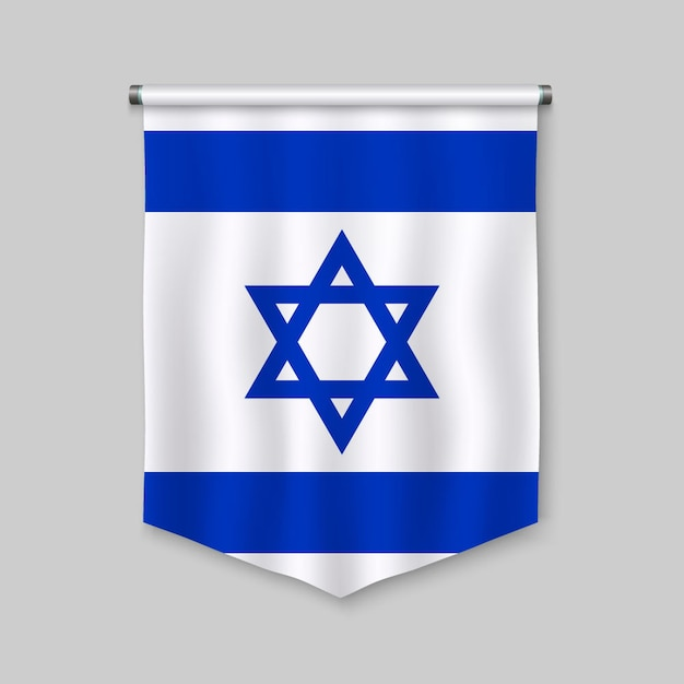 3d realistic pennant with flag of israel Premium Vector