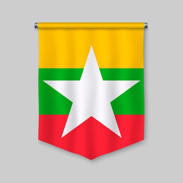 3d realistic pennant with flag of myanmar Premium Vector