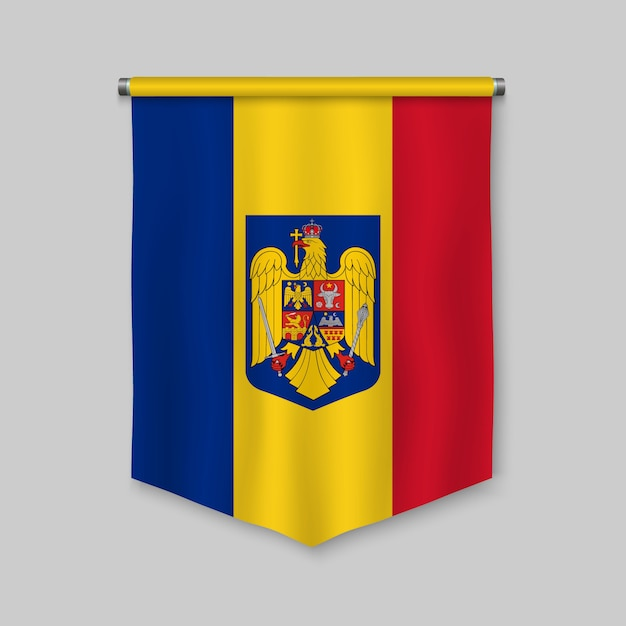 3d realistic pennant with flag of romania Premium Vector