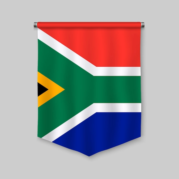 3d realistic pennant with flag of south africa Premium Vector