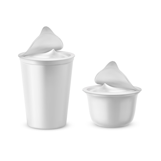 3d realistic plastic packages with yogurt. dairy sour cream with foil lid, cap Free Vector