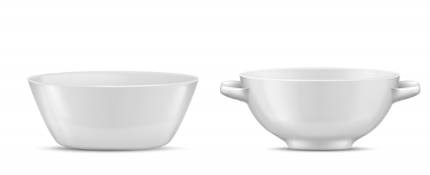 3d realistic porcelain tableware, white glass dishes for different food. salad bowl with hand Free Vector