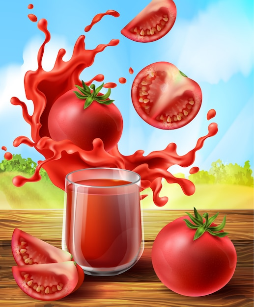 3d realistic promo banner with tomato juice in splashes, glass cup. Free Vector