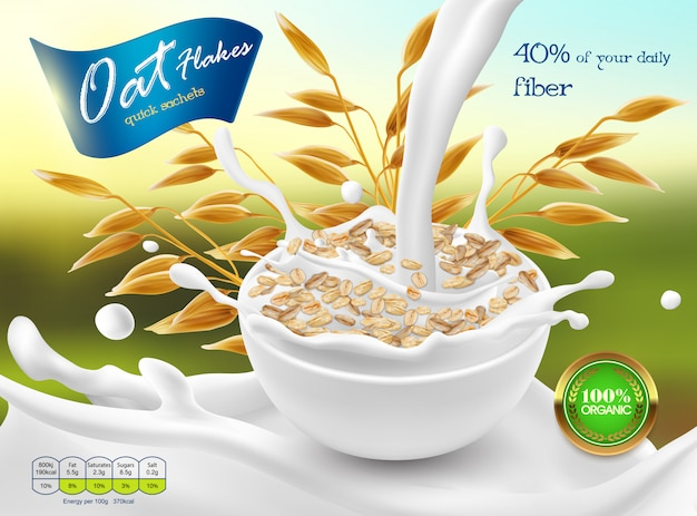 3d realistic promo poster, banner of oat flakes. cereal ears, grains with white bowl Free Vector