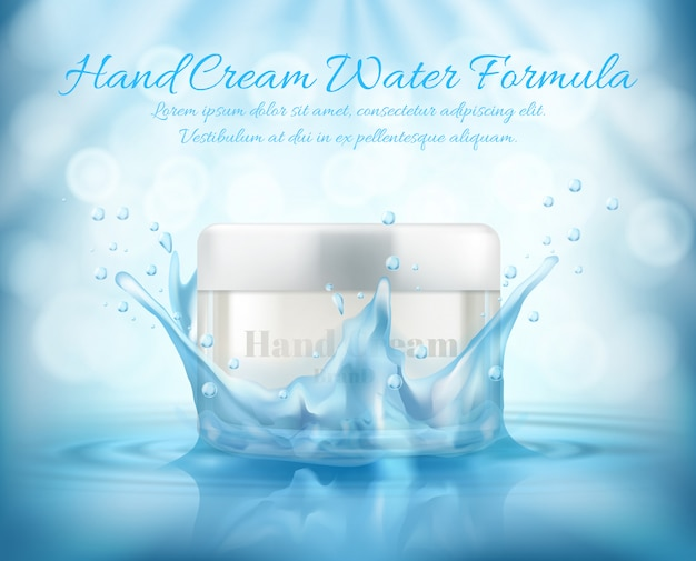 3d realistic promotion banner, mock up with glass jar of cosmetic, hand cream Free Vector