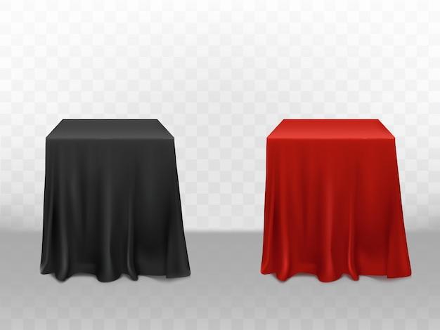 3d現実的な赤と黒のシルクのテーブルクロス。透明な背景で隔離された空の家具 無料ベクター