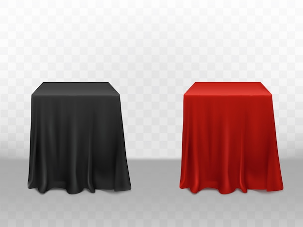 3d realistic red and black silk tablecloth. empty furniture isolated on transparent background Free Vector