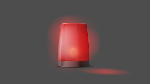 3d realistic red turn on police flasher. siren close-up. light, a beacon for a police car, ambulance, fire engines. emergency flashing siren. foreground. Premium Vector