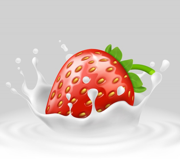 3d realistic ripe strawberry in splashing milk. sweet food with spatter, drops Free Vector