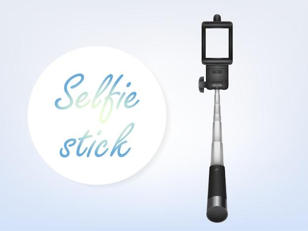 3d realistica selfiestick, poster pubblicitario, banner. monopiede per smartphone Vettore gratuito