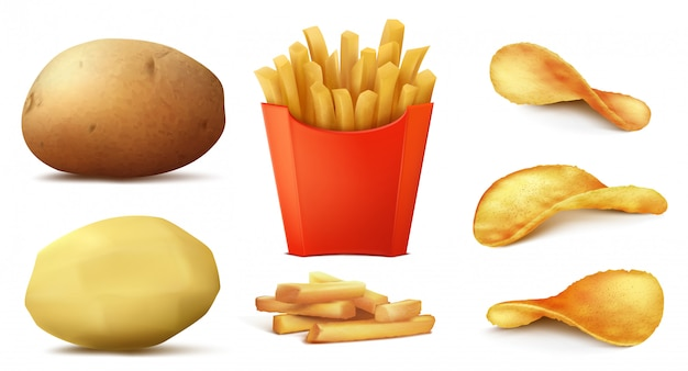 3d realistic set of potato snacks, tasty french fries in red box, raw vegetable and peeled Free Vector