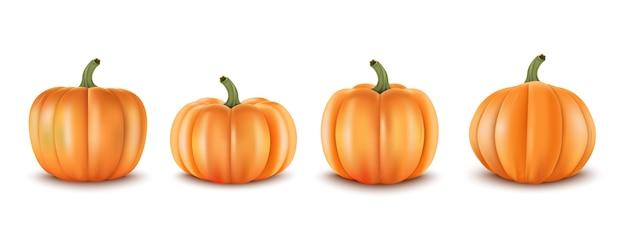 3d realistic set pumpkins. decoration for autumn sale banners an other Premium Vector