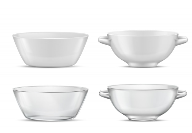 3d realistic set transparent tableware or white porcelain tureens with handles glass or china Free Vector