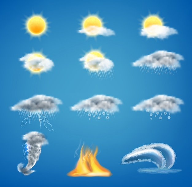 3d realistic set of weather forecast icons for web interfaces or mobile apps Free Vector